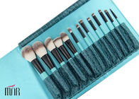 Ket Brush Set Nylon hair Makeup Brush Cylinder With Black Aluminum And Bule Wooden Handle