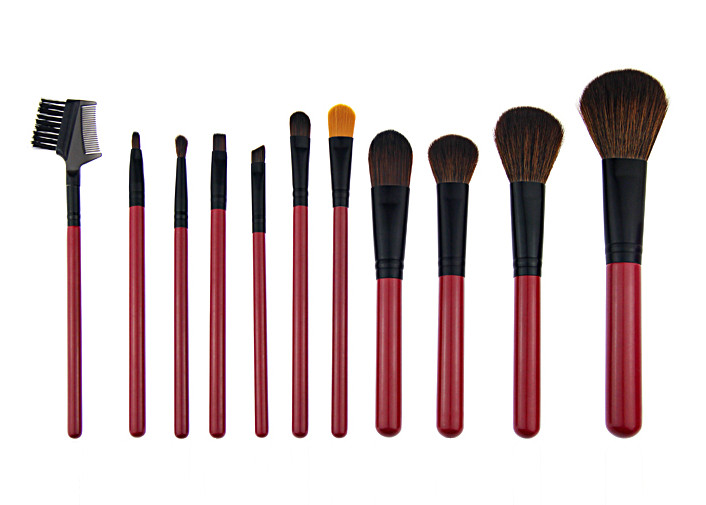 11 Pcs Synthetic Hair Red Natural Makeup Brush Set With Aluminum Ferrule