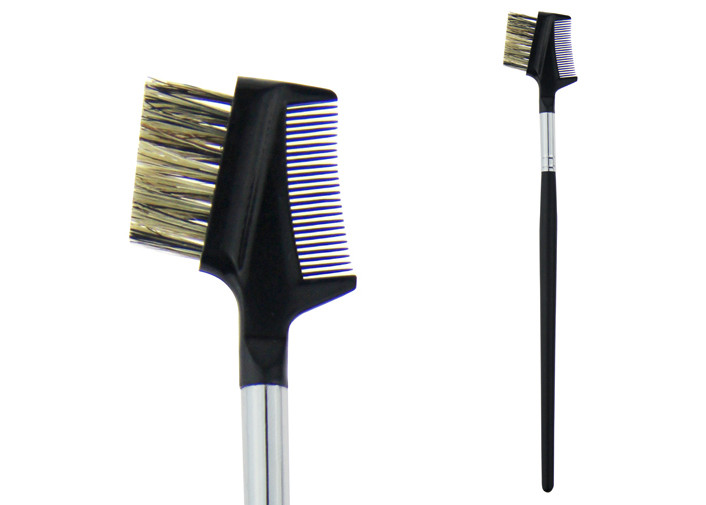 Black Animal Hair Eye Brow Brush 155mm Long Wooden Handle A Comb
