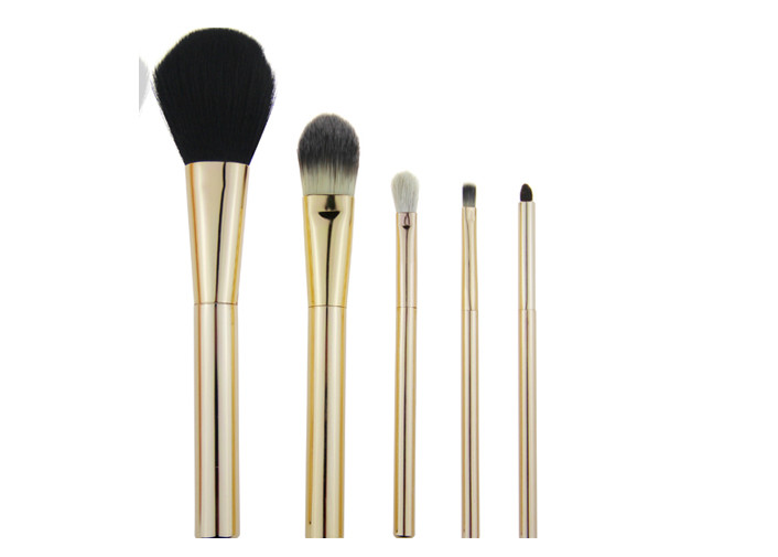 124g Travel Makeup Brush Set With Golden Aluminum Handle Ferrule