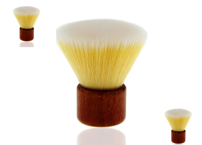 Bamboo Makeup Brushes Flat Top Kabuki Brush With Yellow Nylon Hair