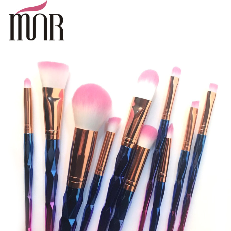 Copper Ferrule Plating Rainbow Professional Makeup Brush Set Environment Friendly