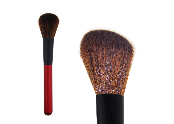 Red Handmade Contour Blush Brush Soft Makeup Brushes With Synthetic Hair
