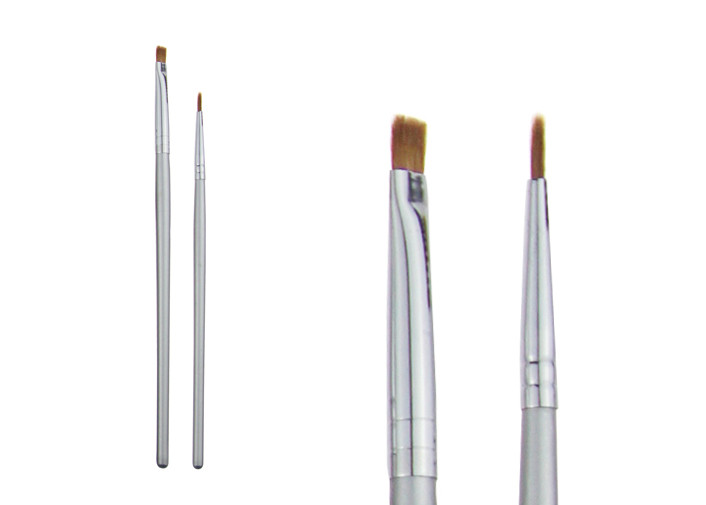 Silver Long Lasting Lip Liner Brush Blending Makeup Brush With Copper Ferrule