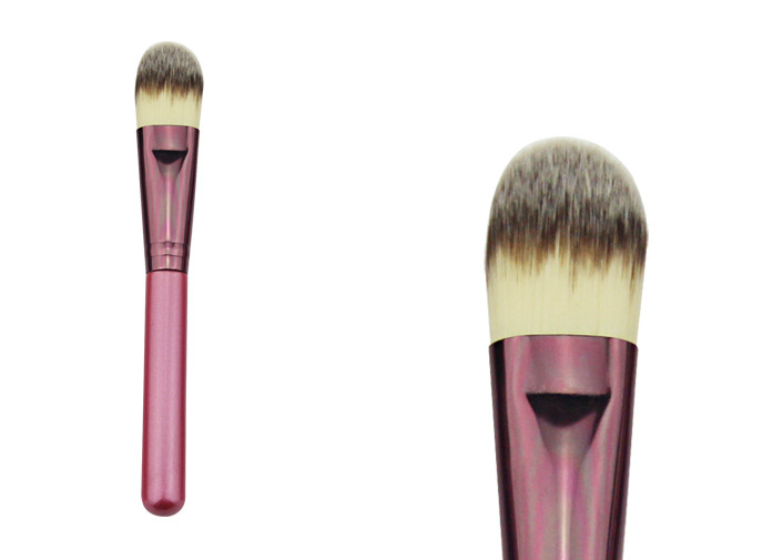 Pink Single Travel Size Stippling Makeup Brush For Powder Foundation