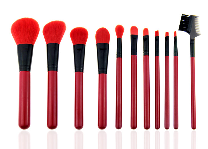 Red Natural Synthetic Hair Makeup Brushes Professional Makeup Brush Kits